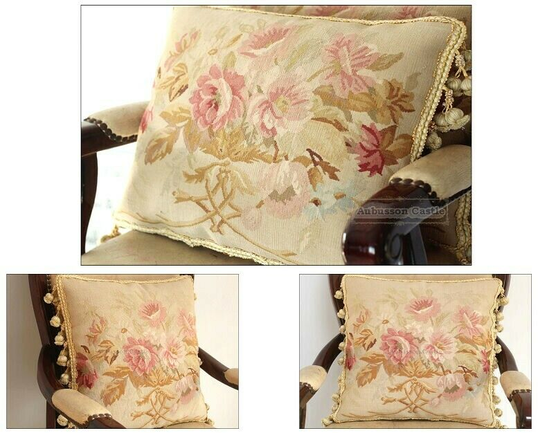 Shabby Chic Bed Pillows : SET 3! SHABBY PINK CHIC Aubusson Rose Pillow French Sofa Bed Cottage Cushion eBay