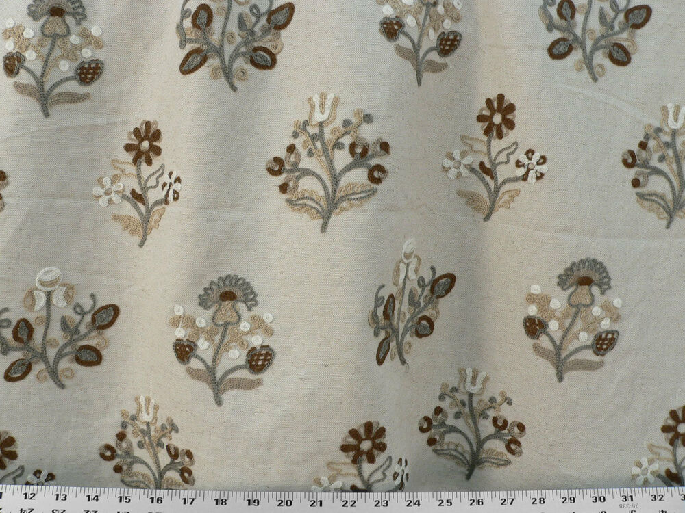 Drapery upholstery fabric blended linen crewel embroidered