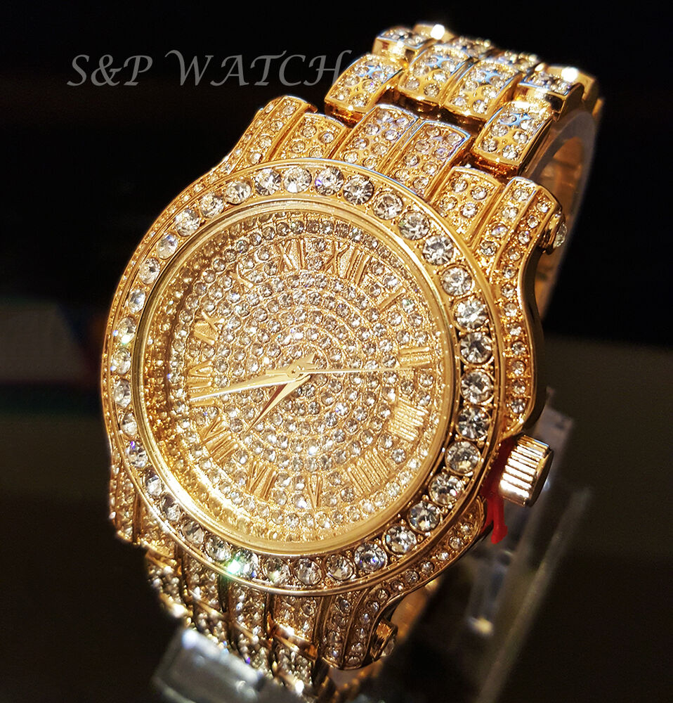 men hip hop iced out gold tone techno pave bling simulated diamond rapper watch ebay. Black Bedroom Furniture Sets. Home Design Ideas