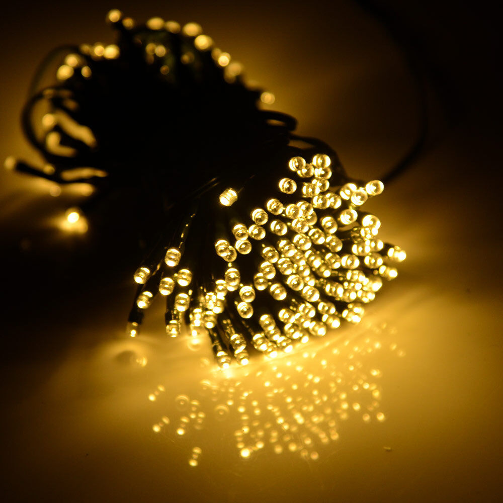 Outdoor String Lights White: 72ft Warm White 200 LED String Fairy Light Solar Power