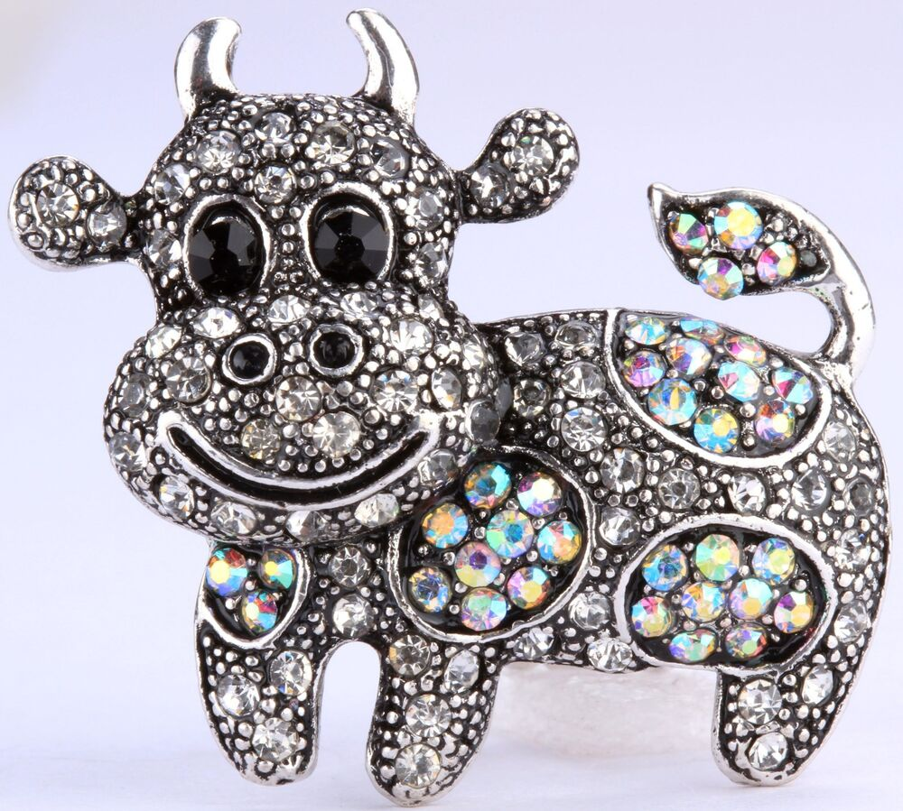 cow bull stretch ring rhinestone crystal animal bling jewelry fashion ra48 ebay. Black Bedroom Furniture Sets. Home Design Ideas