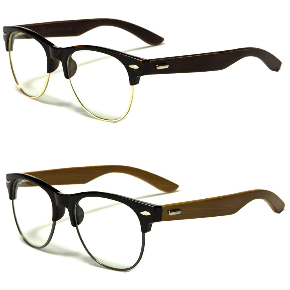 Vintage Half Frame CLEAR LENS GLASSES Black Real Wood Side ...