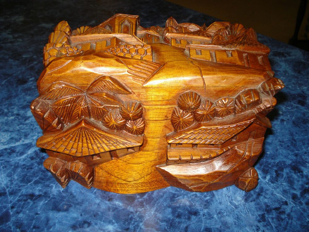 Wooden Jewelry Box Handmade Carved Wooden Jewelry