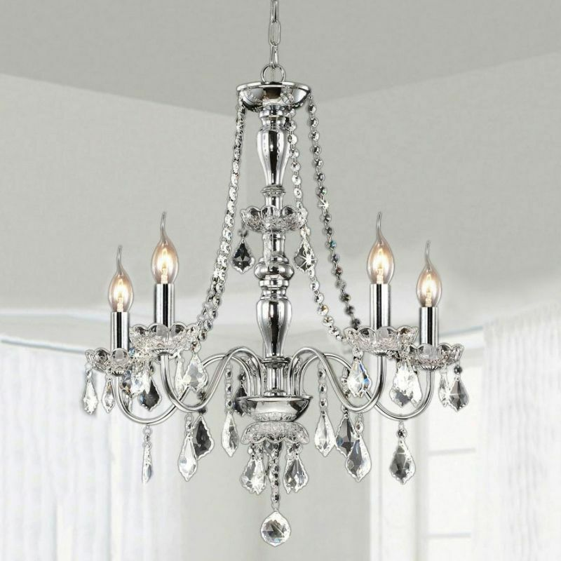 5 Light Crystal Chandelier Pendant Hanging Chrome Ceiling