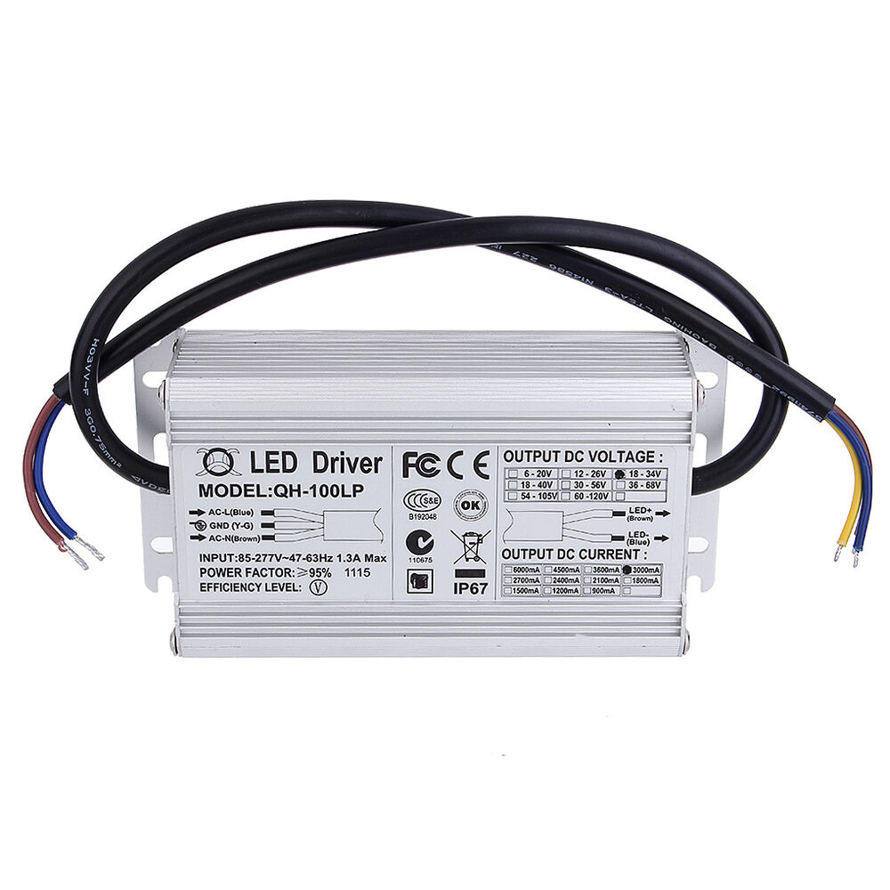 100w led driver power supply ac 85 277v 1 8a dc 18v 34v. Black Bedroom Furniture Sets. Home Design Ideas