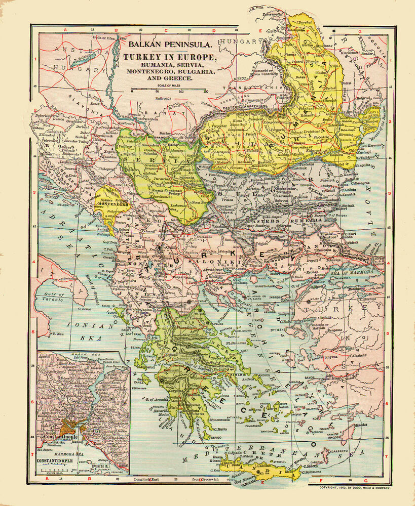 1902 Color Map Of Turkey In Europe Inset Of Constantinople Ebay