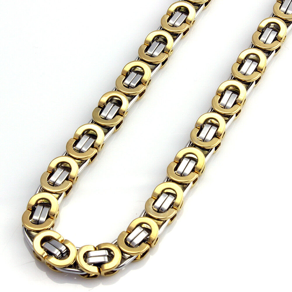 Mens Gold Byzantine Necklace: Men Hip Hop Stainless Steel Gold Silver Tone Flat Link