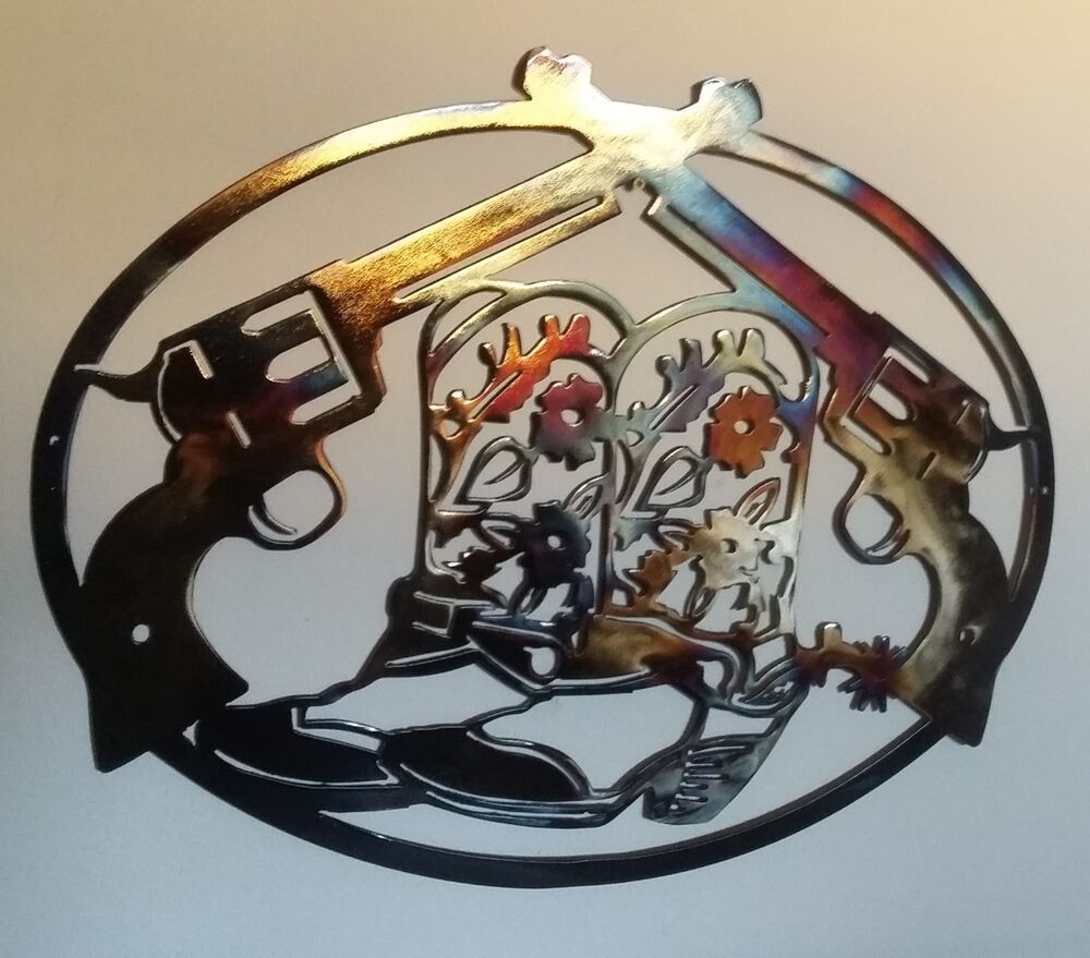 Cowboy Boots And Pistols Western Wall Decor Metal Art 23
