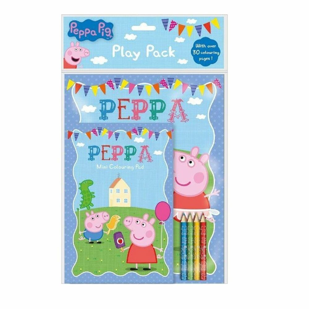 peppa pig play pack colouring pad book pencil crayons