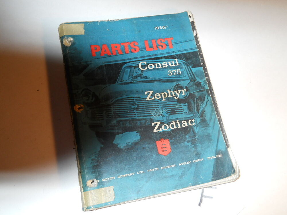 1956 consul 375 zephyr zodiac parts list manual book ford. Black Bedroom Furniture Sets. Home Design Ideas
