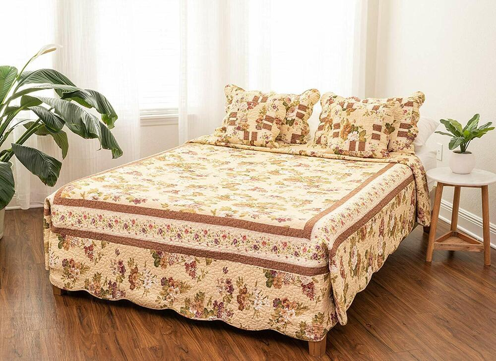 DaDa Bedding Roses Garden Floral Brown Yellow Quilted