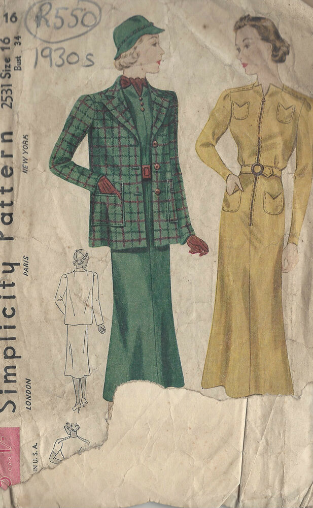 "1930s Vintage Sewing Pattern DRESS & JACKET B34"" (R550) 