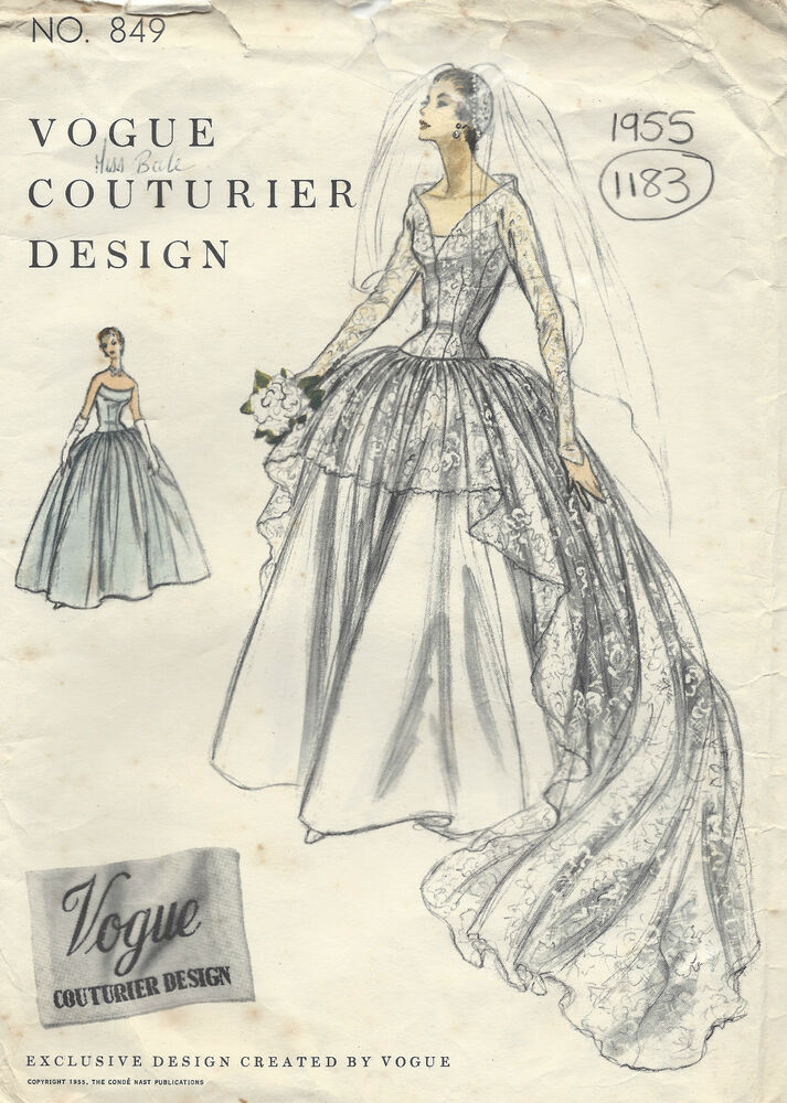 1955 vintage vogue sewing pattern b34 bridal dress or for Wedding dress patterns vintage