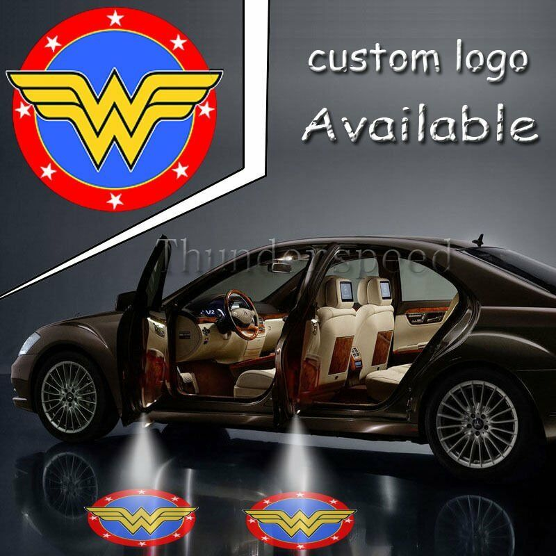 pair justice league wonder woman logo light car truck door led ghost shadow lamp ebay. Black Bedroom Furniture Sets. Home Design Ideas