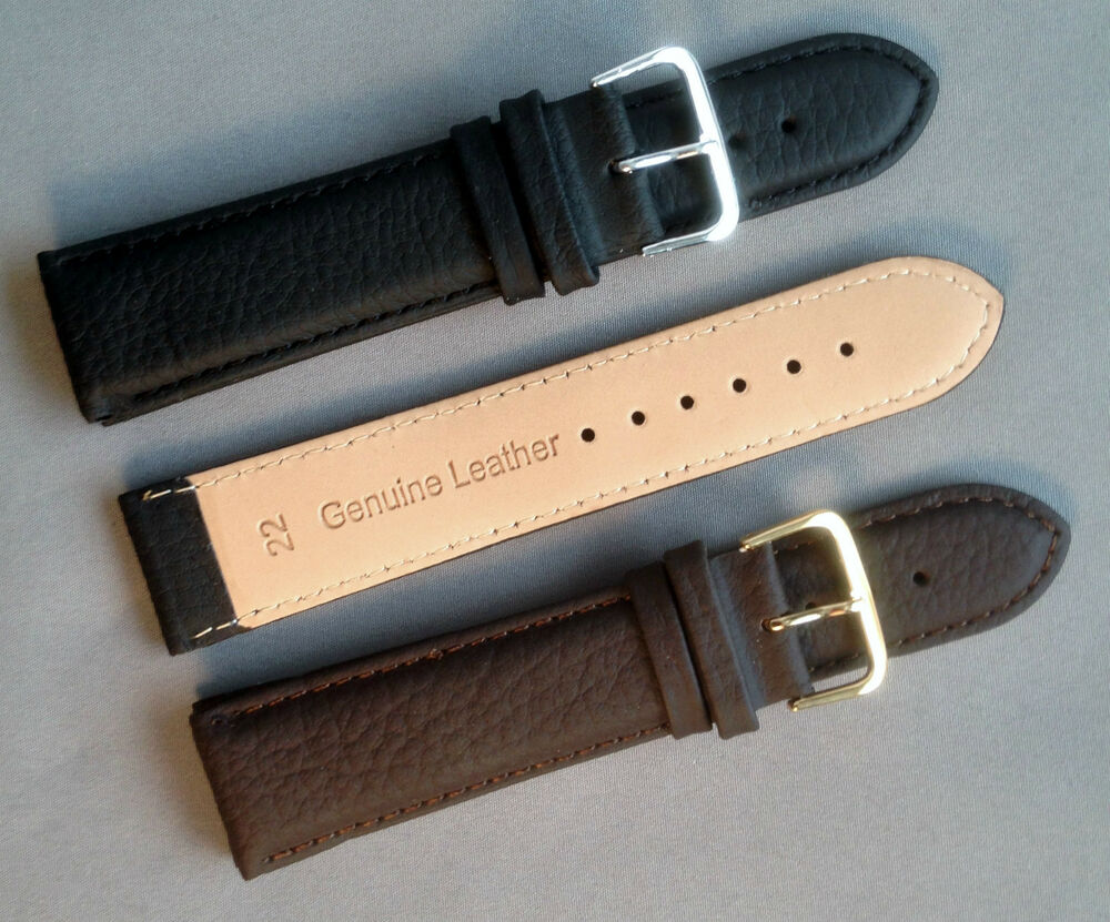 Black brown mens ladies high quality padded leather watch strap band and buckle ebay for Black leather strap men