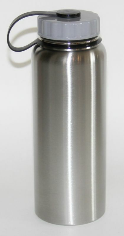 Brushed Stainless Steel Wide Lid 1 Liter Water Bottle