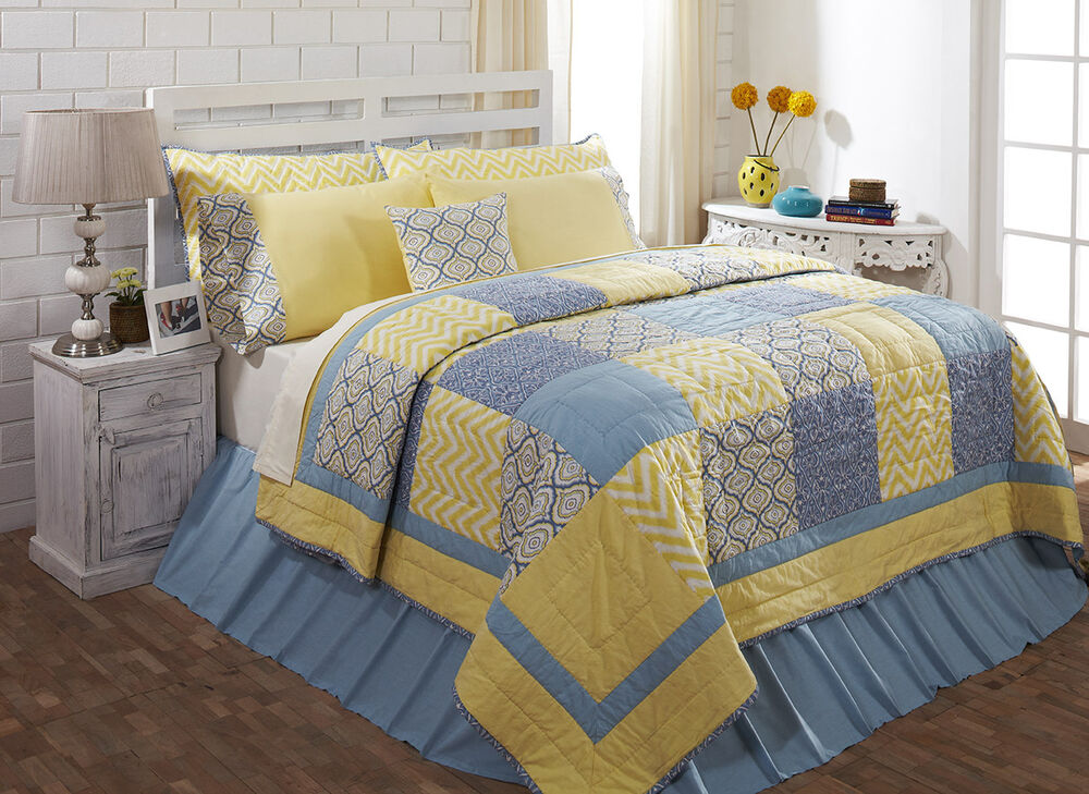 Caledon King Quilt 100% Cotton Quilted Bedspread Yellow