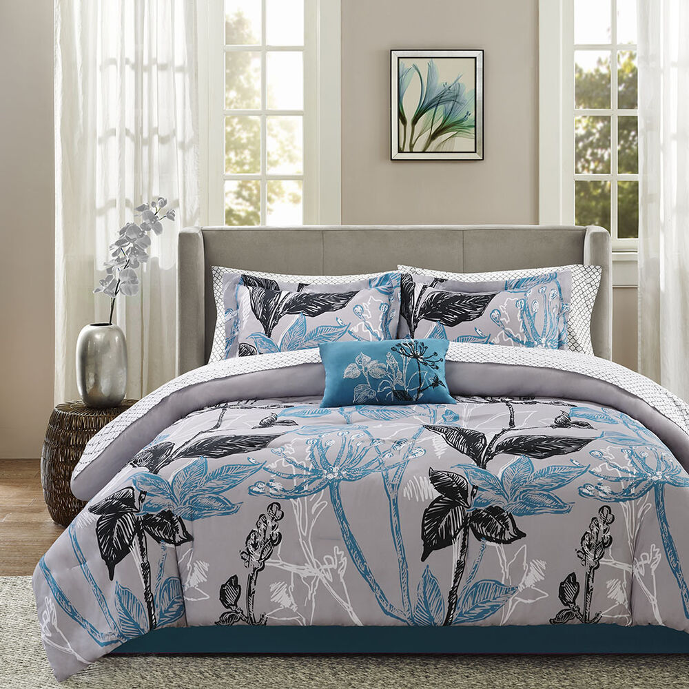 Luxury Aqua Floral Comforter Cotton Sheet 9 Pcs Set Cal