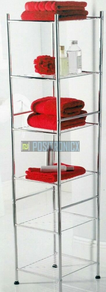 Chrome 6 Tier Bathroom Shelf Organiser Free Standing Storage Ebay
