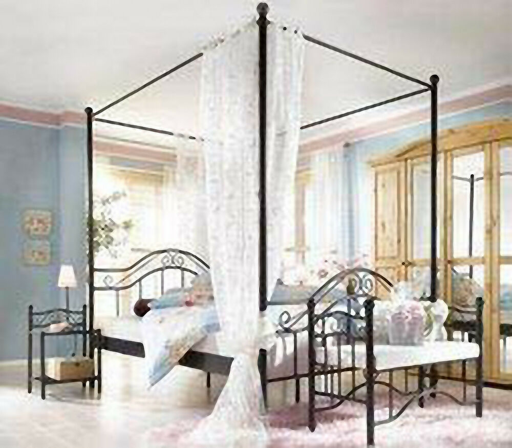 metallbett 140 200 mit himmel. Black Bedroom Furniture Sets. Home Design Ideas