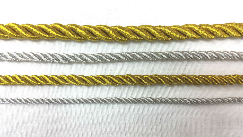 Metallic Cord Rope Silver Gold Pipping String 1 5 10 Or
