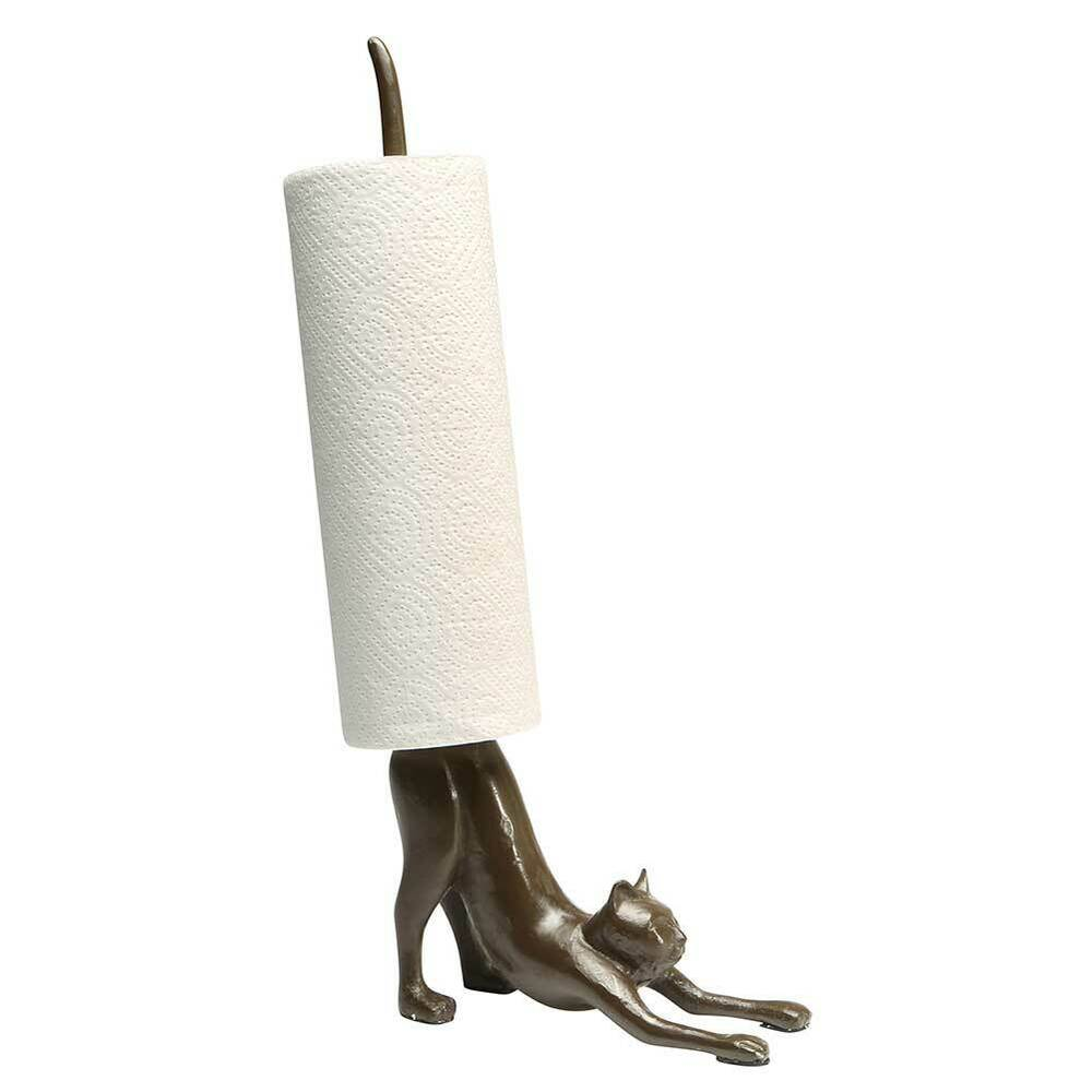 Exclusive Cast Iron Stretching Cat Yoga Paper Towel Holder