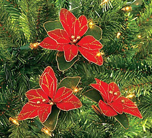 Red Glitter Christmas Tree Decorations : Pack of red glitter poinsettia christmas tree ornaments