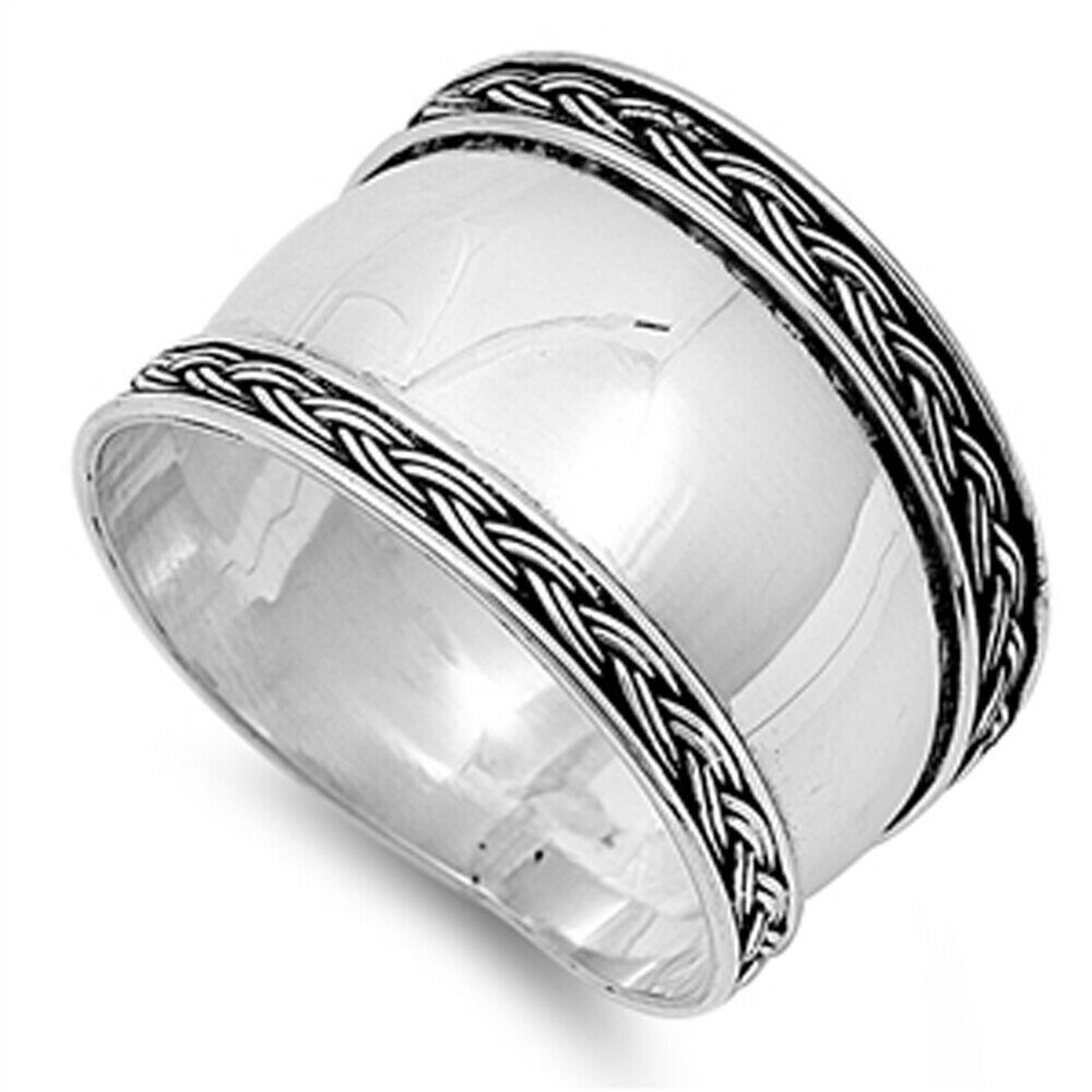 Rope Design Bands: Women's Bali Wide Ring New .925 Sterling Silver Thin Rope
