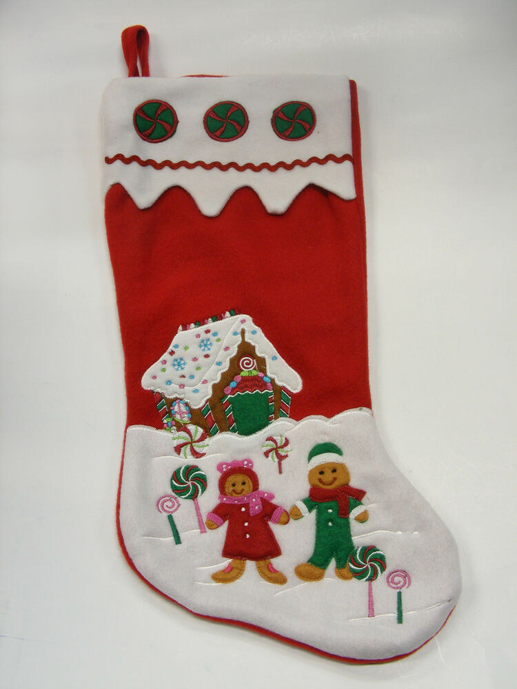 Red Felt Christmas Stocking Lollipops W Gingerbread House