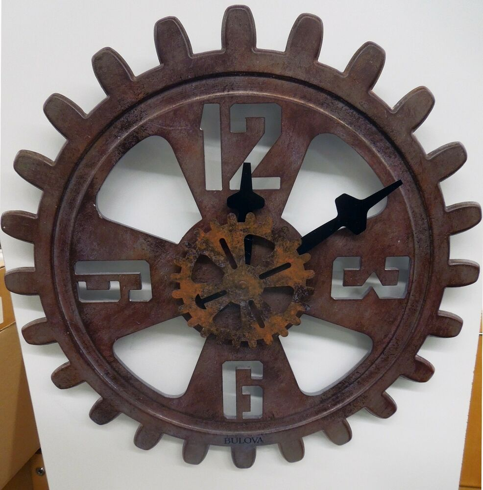 Bulova Wall Clock Industrial Design Antique Finished