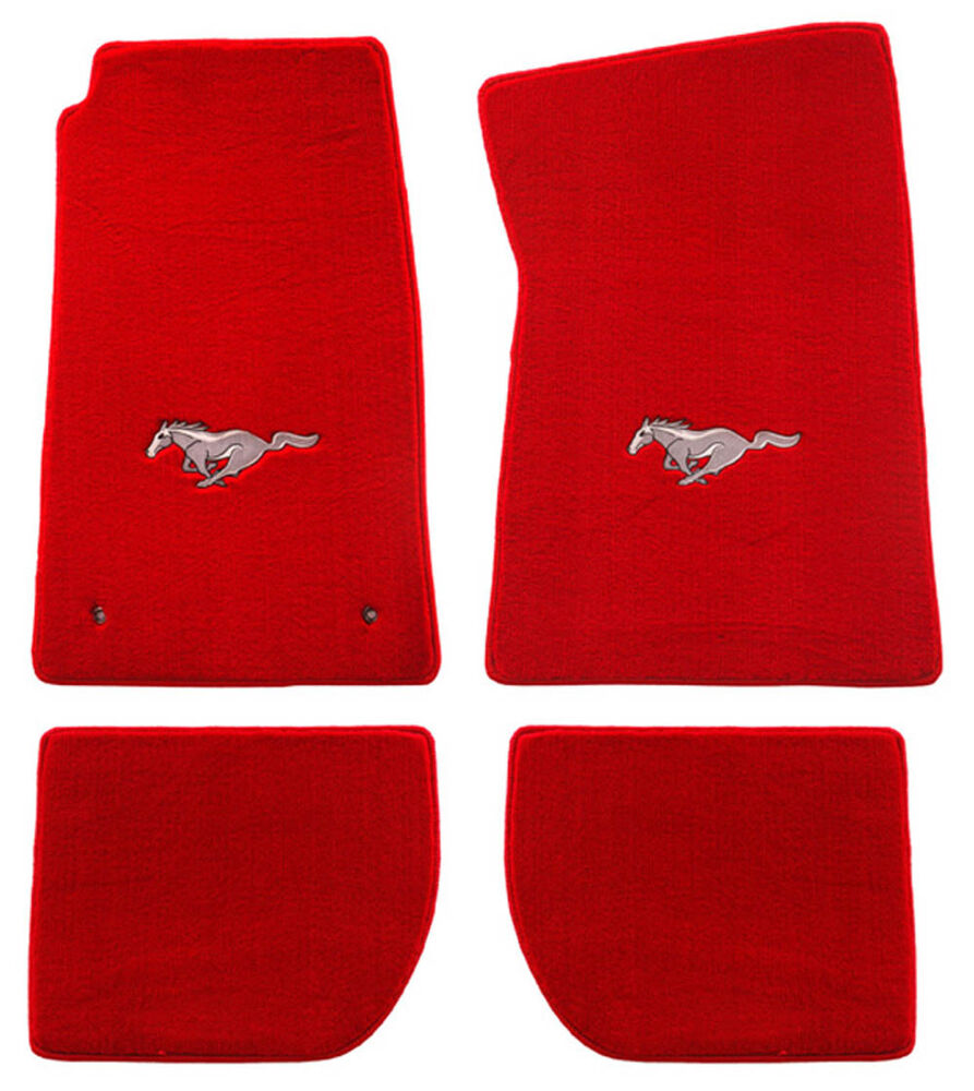 New 1964 1973 mustang red floor mats with logo set of 4 for 1965 ford mustang floor mats