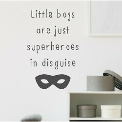 Little Boys Are Just Superheroes In Disguise   Wall Quote Sticker Decal Adhesive