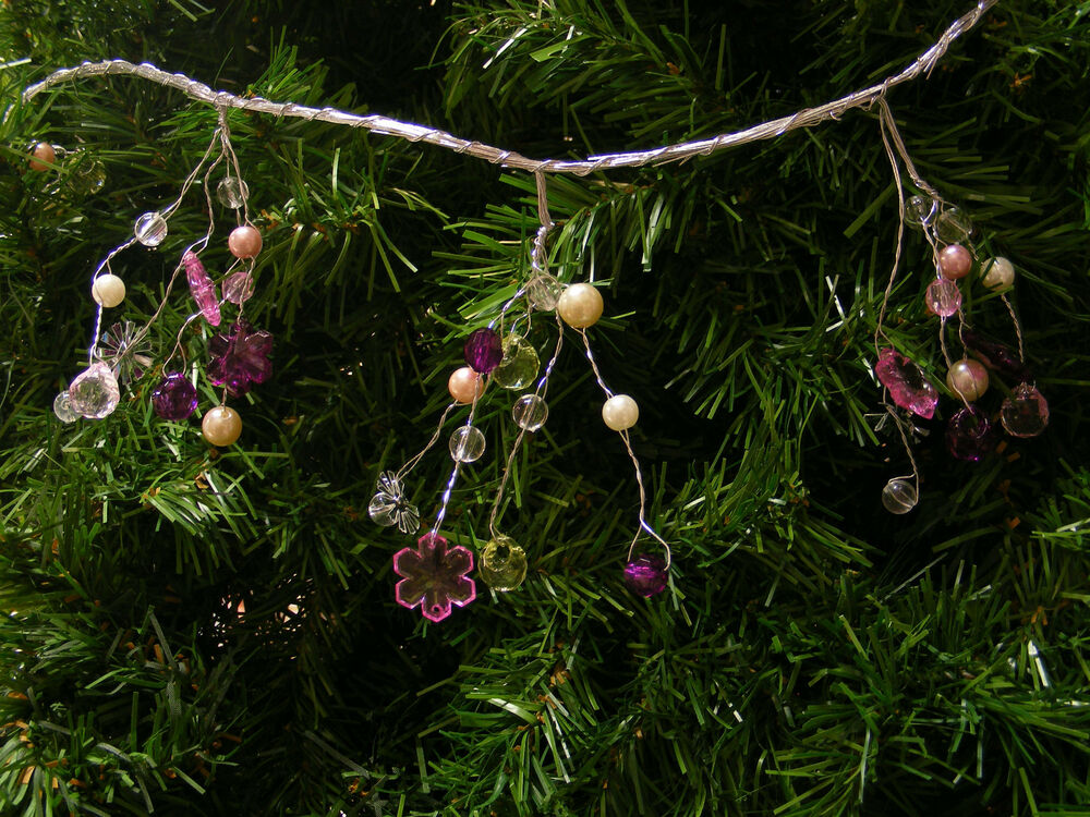 6FT BEADED WIRE GARLAND FACETED BEADS & SNOWFLAKES