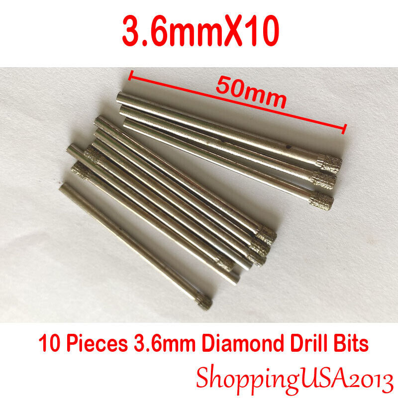 10 Pcs 3mm Diamond Drill Bit Set Coated Hole Saw Glass