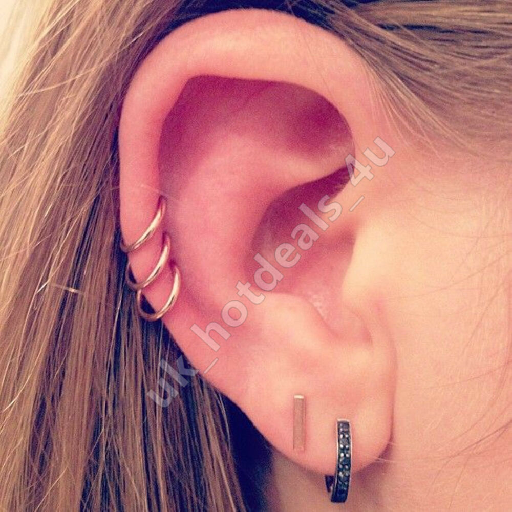 20g Rose Gold Cartilage Earring Rook Helix Hoop Tragus ... Ear Piercings Cartilage