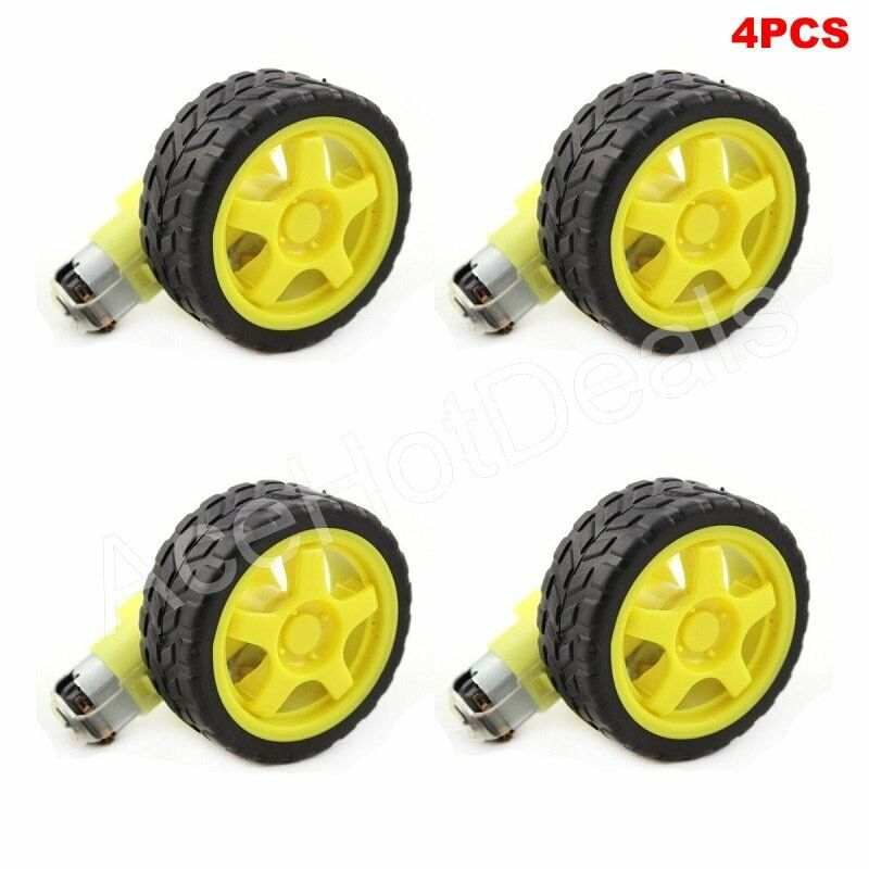 4pcs arduino smart car robot plastic tire wheel with dc 3 for Robot motors and wheels