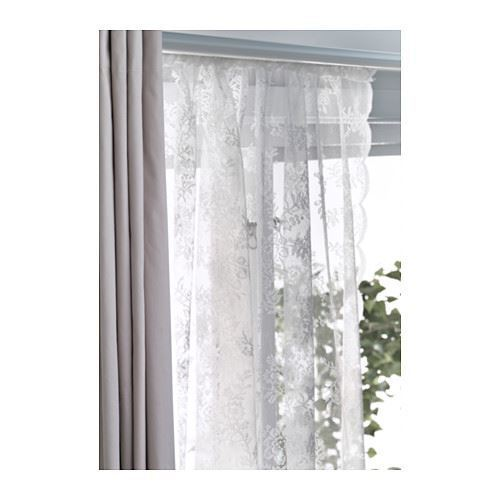 ikea alvine spets net curtains off white pair 145cm x 250cm each ebay. Black Bedroom Furniture Sets. Home Design Ideas