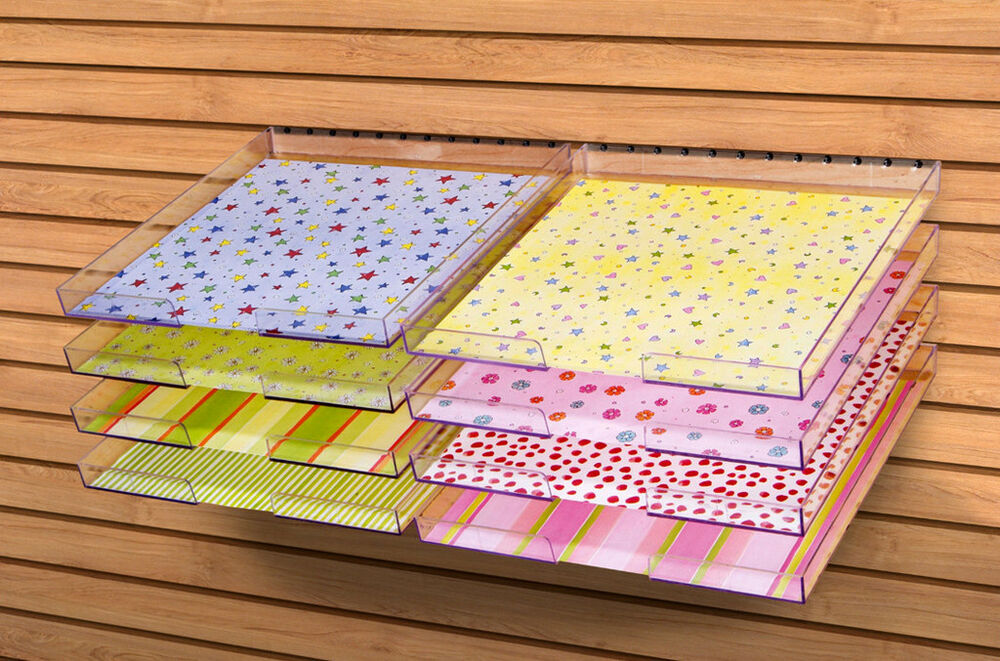 12 x12 peg able clear paper trays by display dynamics pg 001 ebay. Black Bedroom Furniture Sets. Home Design Ideas