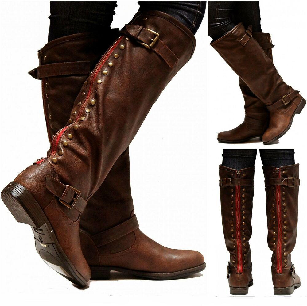 New Women GJA1 16 in. Wide Calf Brown Red Zipper Studded Riding ...