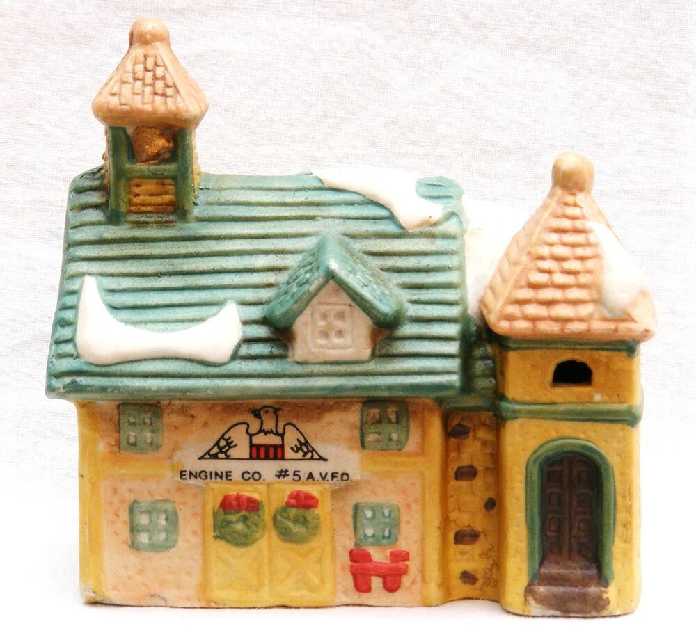 Ceramic Christmas Village House Fire Station Lighted Ebay