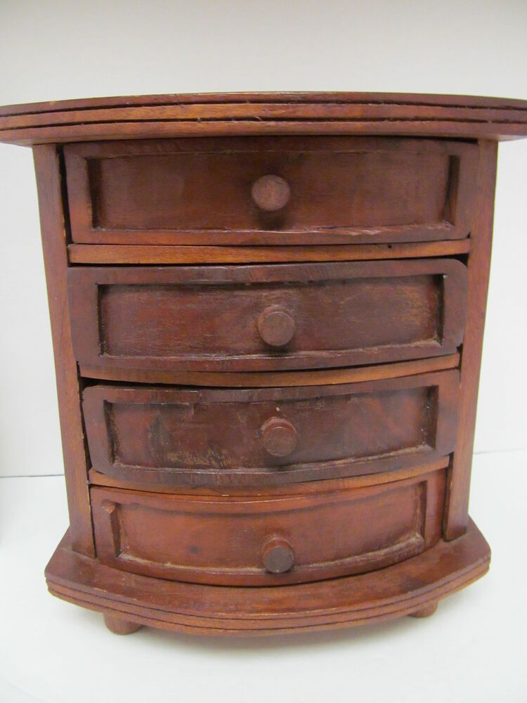 Antique Vtg Hand Crafted Wood Wooden Footed Storage