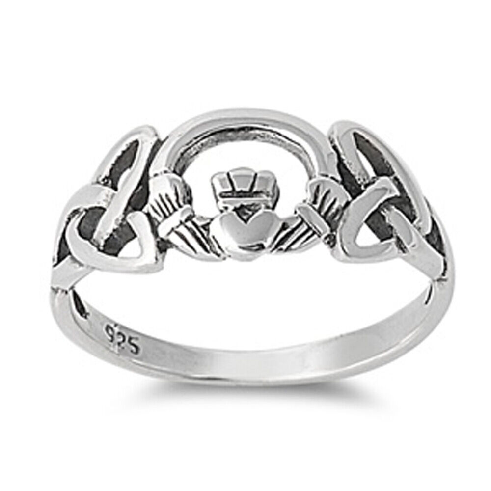 sterling silver woman 39 s celtic claddagh irish ring unique. Black Bedroom Furniture Sets. Home Design Ideas