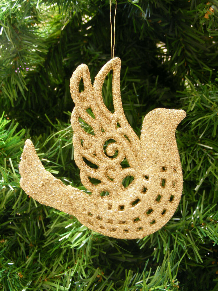Gold glitter plastic filigree bird christmas tree ornament for Christmas tree with gold and blue ornaments