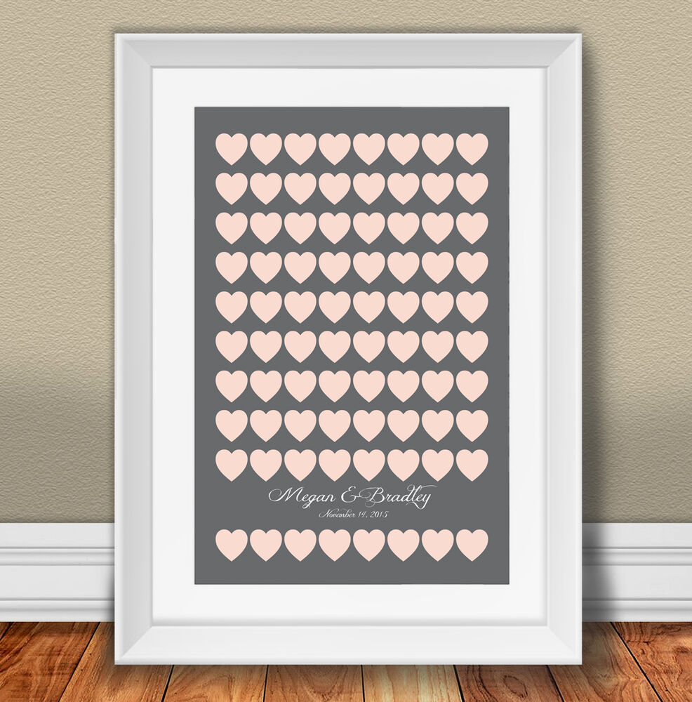 Wedding Ideas For 30 Guests: Custom Wedding Guest Book Alternative Poster Set With 80