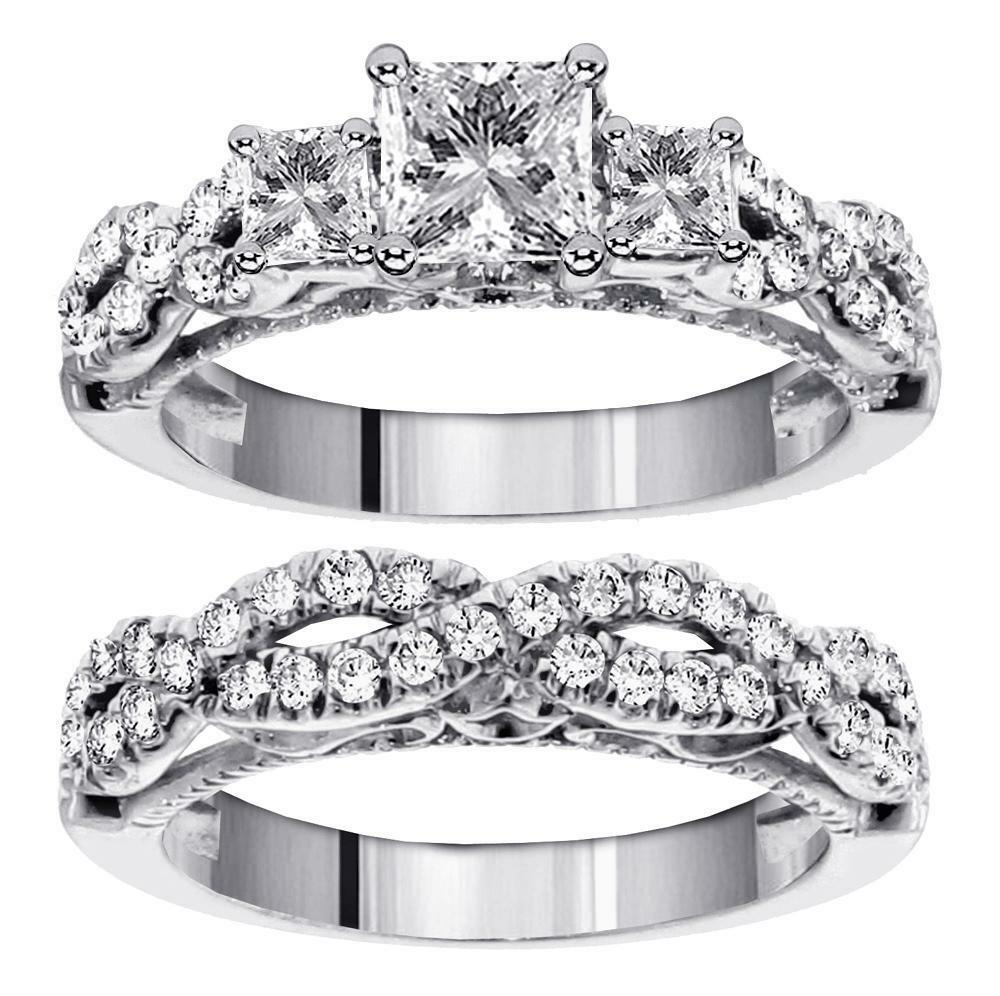Two Platinum: 2.01 3-Stone Princess Cut Diamond Engagement Bridal