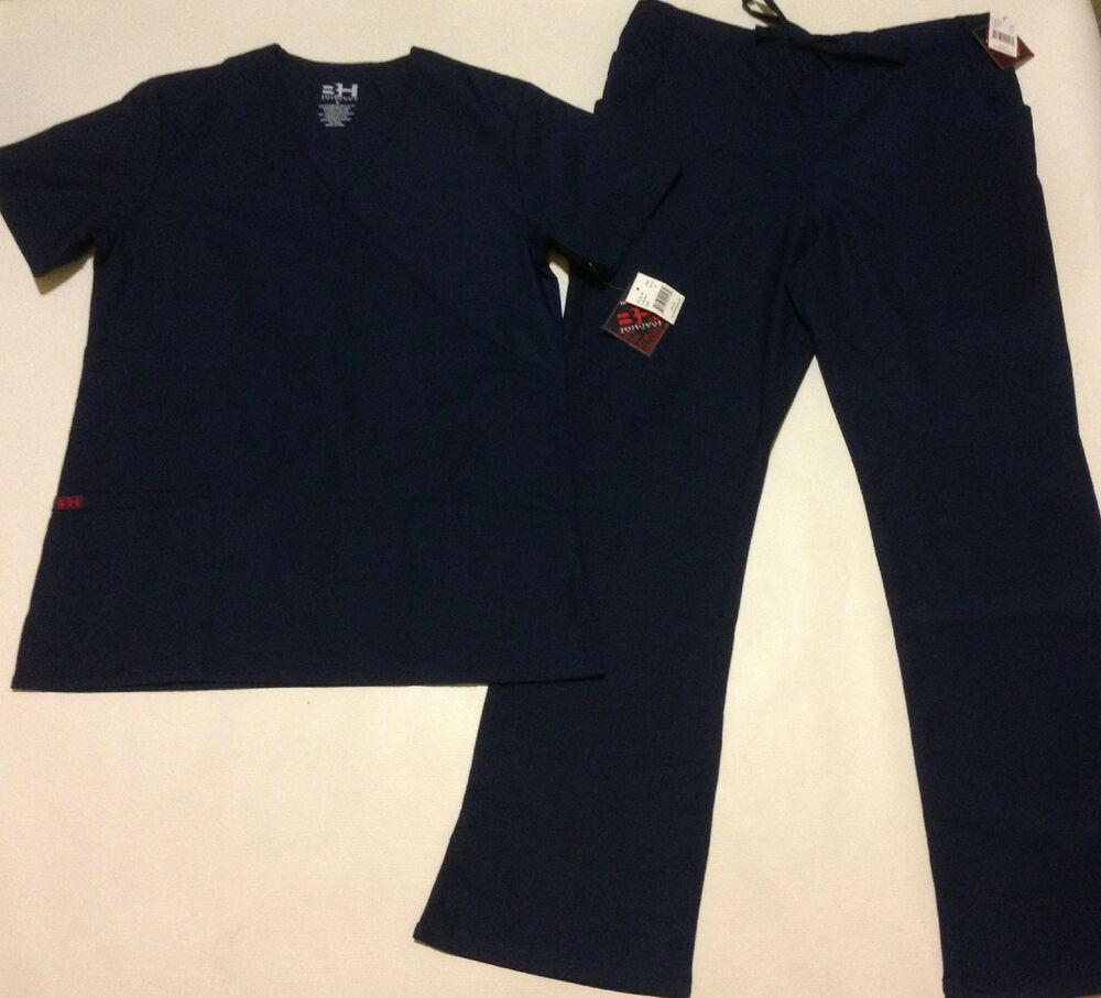 Bh2426 Navy Blue Top Quality Nurse Uniform Scrub Set 65