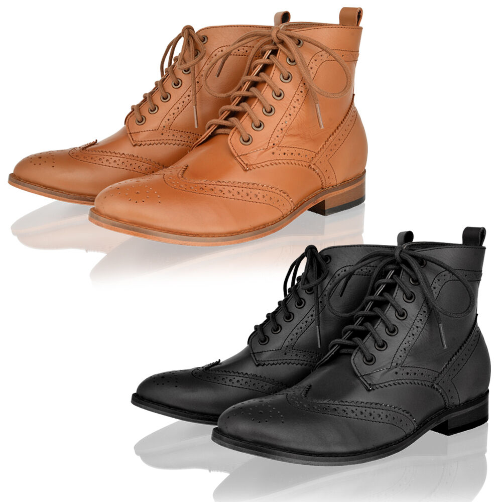 womens real leather casual smart office lace up