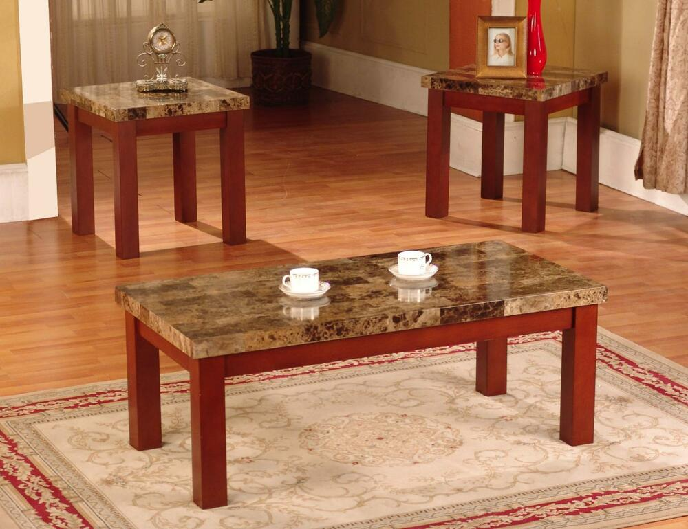 New Faux Marble 3 Piece Coffee And End Table Set Tables In Black Cherry Finish Ebay