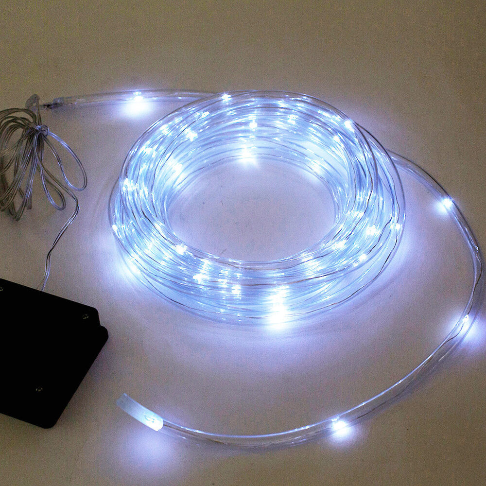 Led Rope Light Tinsel Bauble: 12M 40ft Solar Rope Light 100 Bright White LED Lamps Tube