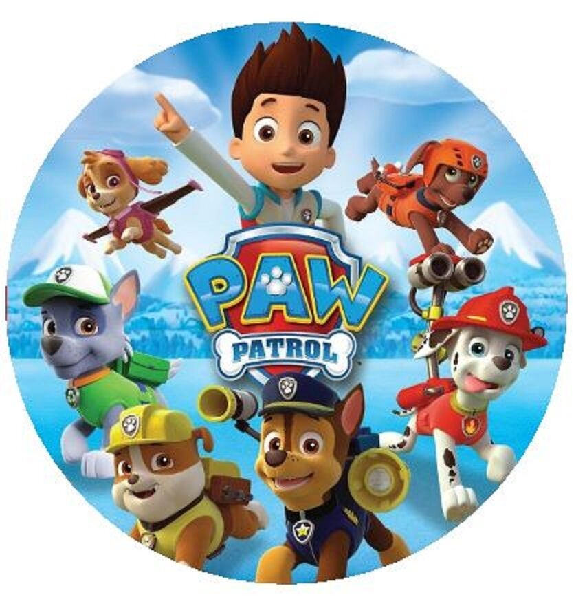 Paw Patrol Round Edible Cake Topper 19cm - Can be ...